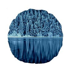 Snowy Forest Reflection Lake Standard 15  Premium Flano Round Cushions