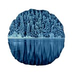 Snowy Forest Reflection Lake Standard 15  Premium Flano Round Cushions Back