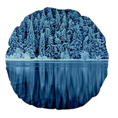Snowy Forest Reflection Lake Large 18  Premium Flano Round Cushions by Alisyart