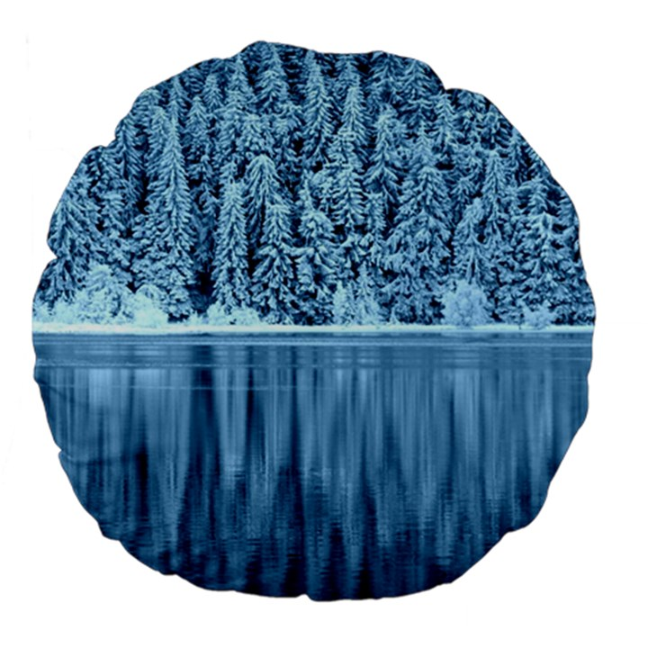 Snowy Forest Reflection Lake Large 18  Premium Flano Round Cushions