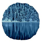 Snowy Forest Reflection Lake Large 18  Premium Flano Round Cushions Back