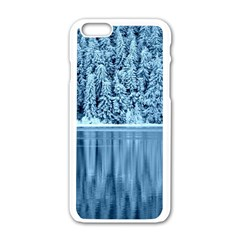 Snowy Forest Reflection Lake Apple Iphone 6/6s White Enamel Case by Alisyart