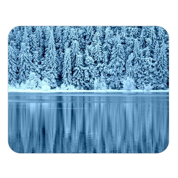 Snowy Forest Reflection Lake Double Sided Flano Blanket (Large)