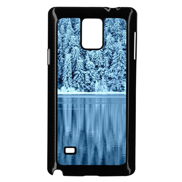 Snowy Forest Reflection Lake Samsung Galaxy Note 4 Case (Black)