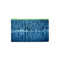 Snowy Forest Reflection Lake Cosmetic Bag (xs)