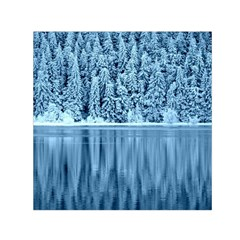 Snowy Forest Reflection Lake Small Satin Scarf (square)