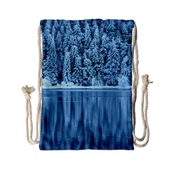 Snowy Forest Reflection Lake Drawstring Bag (small)