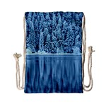Snowy Forest Reflection Lake Drawstring Bag (Small) Back