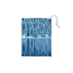 Snowy Forest Reflection Lake Drawstring Pouch (xs)