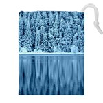 Snowy Forest Reflection Lake Drawstring Pouch (XXL) Front