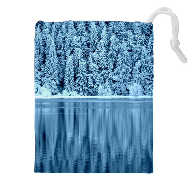 Snowy Forest Reflection Lake Drawstring Pouch (XXL)