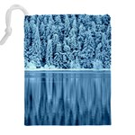 Snowy Forest Reflection Lake Drawstring Pouch (XXL) Back