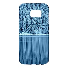 Snowy Forest Reflection Lake Samsung Galaxy S7 Edge Hardshell Case by Alisyart