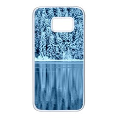 Snowy Forest Reflection Lake Samsung Galaxy S7 White Seamless Case