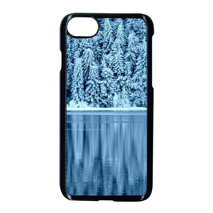 Snowy Forest Reflection Lake Apple iPhone 7 Seamless Case (Black)