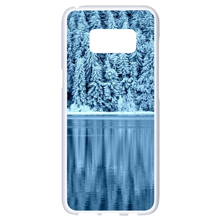 Snowy Forest Reflection Lake Samsung Galaxy S8 White Seamless Case