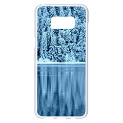Snowy Forest Reflection Lake Samsung Galaxy S8 Plus White Seamless Case by Alisyart