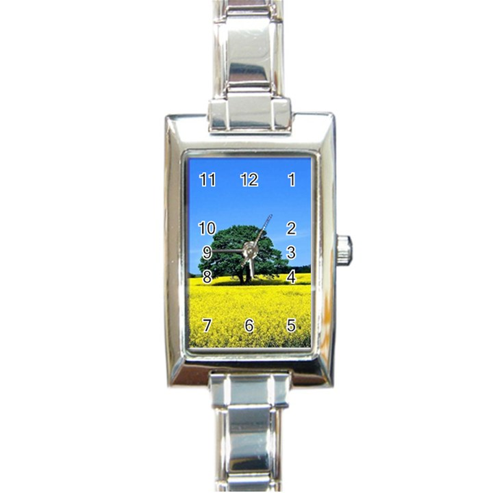 Tree In Field Rectangle Italian Charm Watch