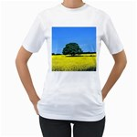 Tree In Field Women s T-Shirt (White) (Two Sided) Front