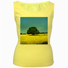 Tree In Field Women s Yellow Tank Top