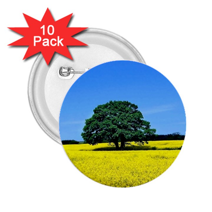 Tree In Field 2.25  Buttons (10 pack)