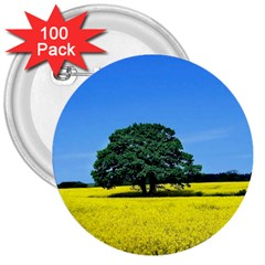 Tree In Field 3  Buttons (100 Pack)