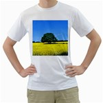 Tree In Field Men s T-Shirt (White) (Two Sided) Front