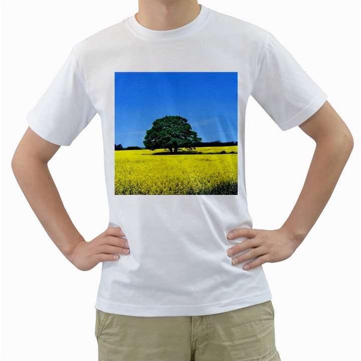 Tree In Field Men s T-Shirt (White) (Two Sided)