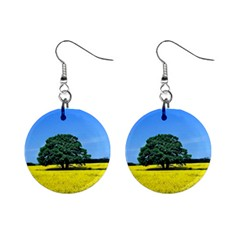 Tree In Field Mini Button Earrings