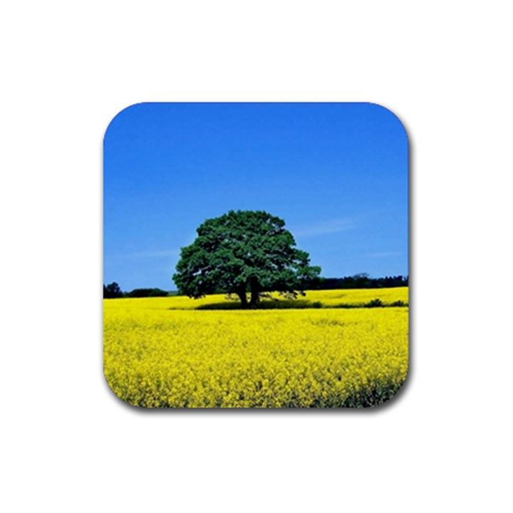 Tree In Field Rubber Square Coaster (4 pack)