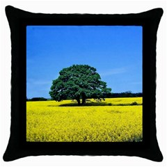 Tree In Field Throw Pillow Case (black)