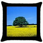 Tree In Field Throw Pillow Case (Black) Front