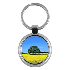 Tree In Field Key Chains (round)