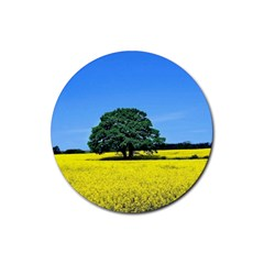 Tree In Field Rubber Coaster (round)