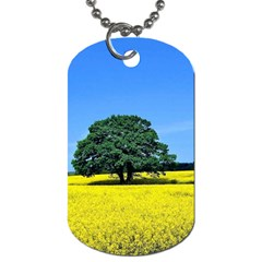 Tree In Field Dog Tag (one Side)