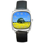Tree In Field Square Metal Watch Front