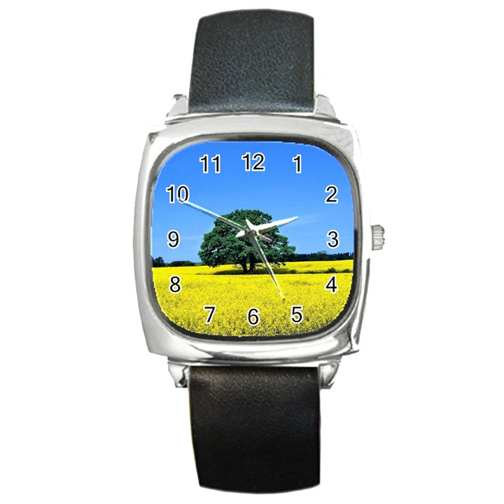 Tree In Field Square Metal Watch