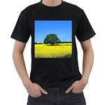 Tree In Field Men s T-Shirt (Black) (Two Sided) Front