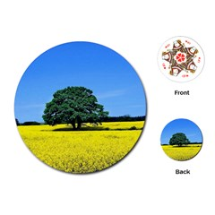 Tree In Field Playing Cards (round)