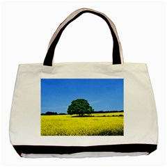 Tree In Field Basic Tote Bag
