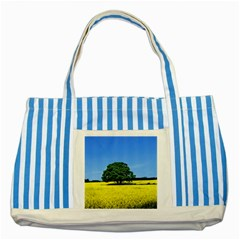 Tree In Field Striped Blue Tote Bag