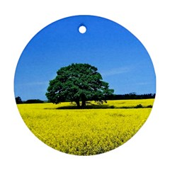 Tree In Field Round Ornament (two Sides)