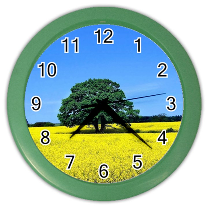 Tree In Field Color Wall Clock