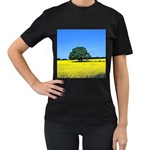 Tree In Field Women s T-Shirt (Black) Front