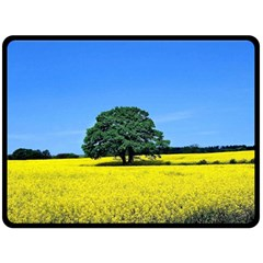 Tree In Field Fleece Blanket (large)