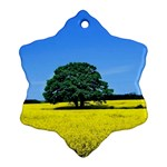 Tree In Field Snowflake Ornament (Two Sides) Back