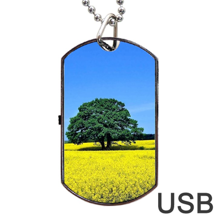 Tree In Field Dog Tag USB Flash (One Side)