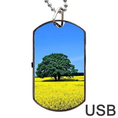 Tree In Field Dog Tag Usb Flash (two Sides)