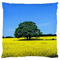 Tree In Field Large Cushion Case (one Side)