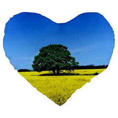 Tree In Field Large 19  Premium Heart Shape Cushions